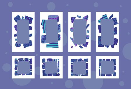 Set of social media templates. Collection of collage borders in doodle style. Backgrounds for stories and posts. Vector illustration.