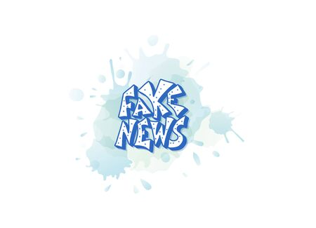 Fake news message with watercolor blot. Banner design template with stylized text. Vector color illustration.