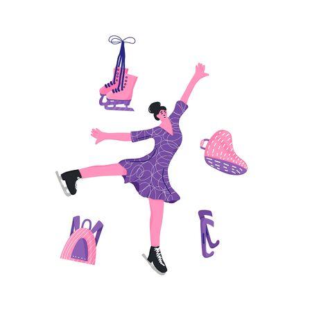Figure skater emblem. Female character and equipment isolated on white background. Athlete on the rink. Vector illustartion.