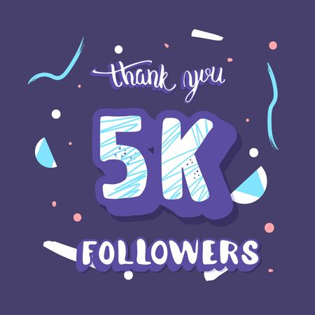 5k followers post. 5000 subscribers. Social media banner. Vector color illustration.