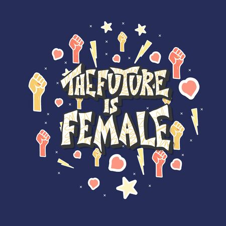 The future is female round poster. Hand drawn quote with feminism symbols. Vector color illustration.