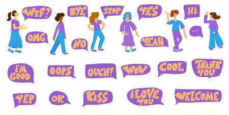 Short phrases set with speech bubble. Collection of quotes and woman characters. Vector illustration.