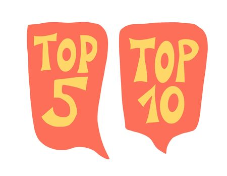 Top 5 and 10 quotes with speech bubble set. Vector stylized text.  イラスト・ベクター素材