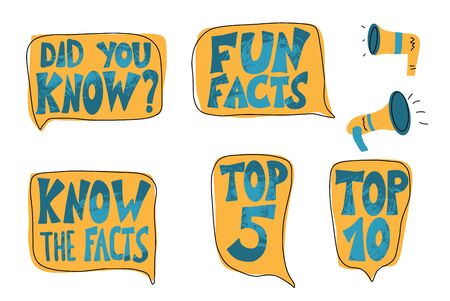Do you know, Fun facts, Top 10 and other quotes with speech bubbles and megaphone set. Vector stylized text.