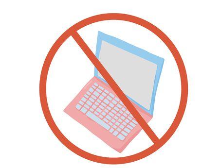 Stop laptop sign icon. Restrict symbol. Vector  illustration. Çizim