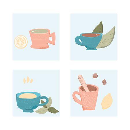 Tea set. Cups and kettele. Hot beverage stuff. Vector illustration. 写真素材 - 129443672