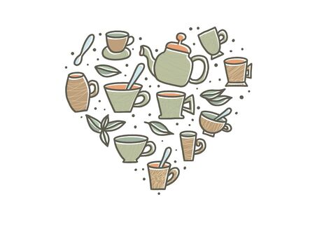 Tea heart shape set. Cups and kettele. Hot beverage stuff. Vector illustration. 写真素材 - 129443670