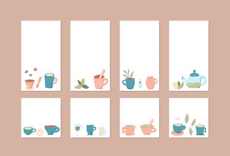 Set of social media templates of vector tea cups. Collection of  in doodle style. Backgrounds for stories and posts.  Vector illustration. 写真素材 - 129443671