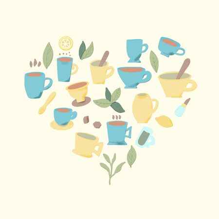 Tea set of heart composition. Cups and kettele. Hot beverage stuff. Vector illustration.