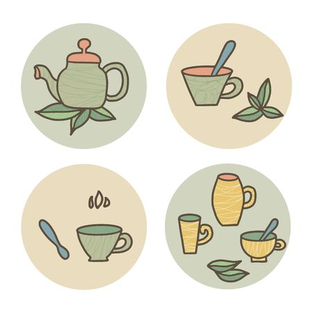 Tea set of round badges. Cups and kettele. Hot beverage stuff. Vector illustration. Illustration