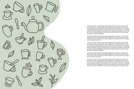 Tea template of banner. Cups and kettele. Hot beverage stuff. Vector illustration.  イラスト・ベクター素材