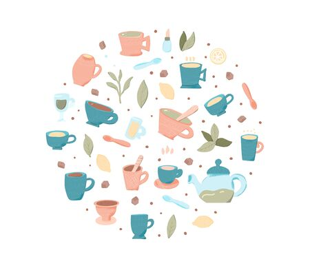 Round badge of tea cups and kettle. Hot beverage hand drawn items. Vector illustration.