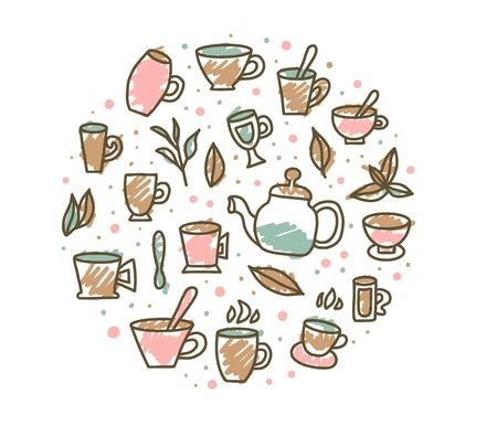 Round badge of tea cups and kettle. Hot beverage stuff in doolde style. Vector illustration. 일러스트