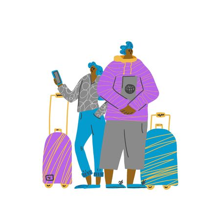 Check in online with phone. Student couple going to travel together. Two young characters standing with their luggage isolated on white background. Vector flat illustartion.