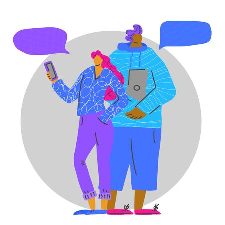 Young couple with gadgets standing together on white background. Young adult characters isolated. Boy and girl with speech bubbles. Vector flat illustartion.  イラスト・ベクター素材