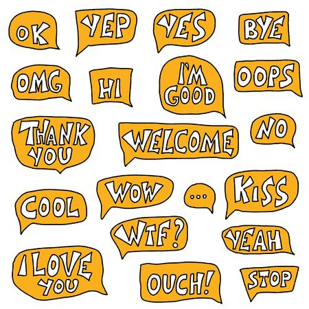 Vector elements for conversation. Ok, yep, wow, omg, welcome, cool, thank you, yes, hi, Im good, I love you, bye,no, stop lettering. Text with speech bubbles isolated on white background. Çizim