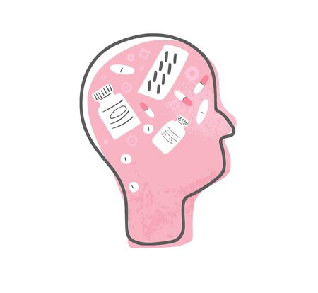 Mental therapy concept. Human head with gears, pills and medical decoration. Vector illustration. Vectores