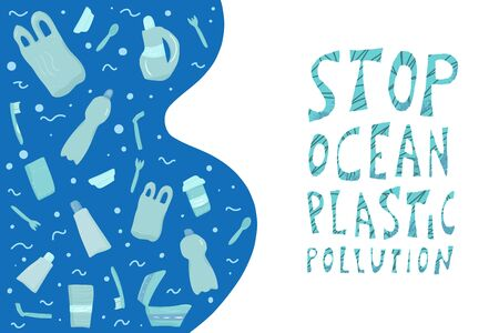 Stop ocean plastic pollution banner template. Ecological problem emplem. Vector stylized text with decoration.