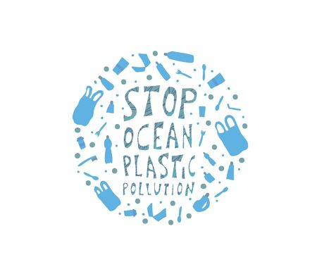 Round badge of stop ocean plastic pollution symbols. Ecological problem circle emplem. Vector stylized text with plastic garbage.