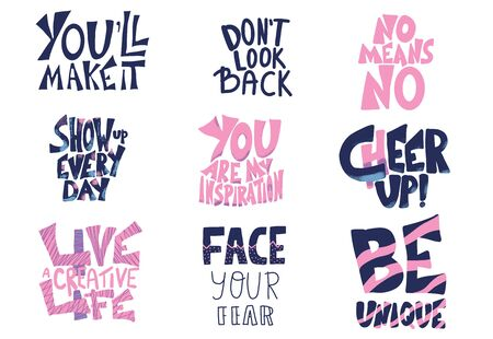 Set of quotes isolated. Motivational hand drawn lettering collection. Face your fear, Be unique. Vector text. Stockfoto - 129443745