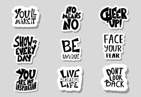 Sticker quotes isolated. Motivational hand drawn lettering collection. Inspirational poster template with text. Vector  illustration. Stockfoto - 129443746