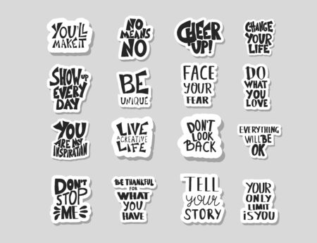 Sticker quotes isolated. Motivational hand drawn lettering collection. Inspirational set text. Vector  illustration. Çizim