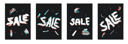 Sale templetes banner set. Hand drawn text with glitch effect. Vector illustration.  イラスト・ベクター素材