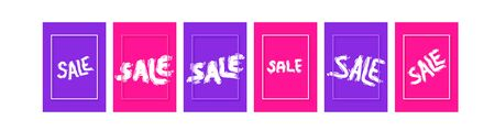 Sale templetes banner set. Hand drawn text. Vector stylized brush word.