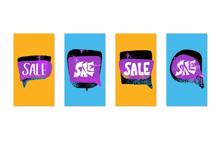 Sale story banners template. Stylized promotion lettering. Blanks for advertising social media card. Vector illustration.