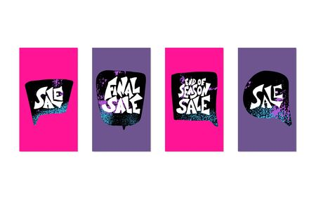 Sale story template. Stylized promotion lettering with speech bubbles. Blanks for advertising social media. Vector illustration. Çizim