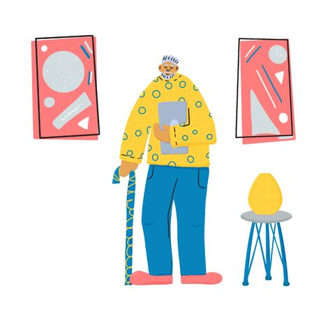 Exhibition visitor. Senior man standing full length. Elderly character with laptop and walking stick at contemporary art gallery. Vector character design in flat style.