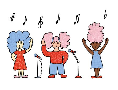 Singers with microphones stay isolated. Girls simple characters.