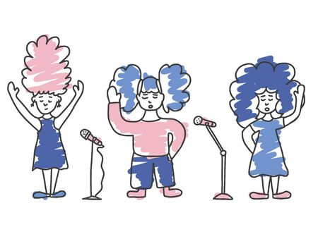 Singers with microphones stay isolated. Girls group simple characters.