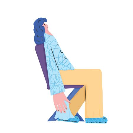 Woman with flu or allergies. Young female character sitting on the chair with running nose. Vector illustartion.