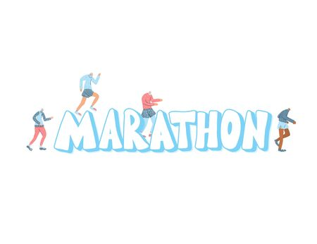 Marathon giant stylized  text with tiny runners. Vector illustration.