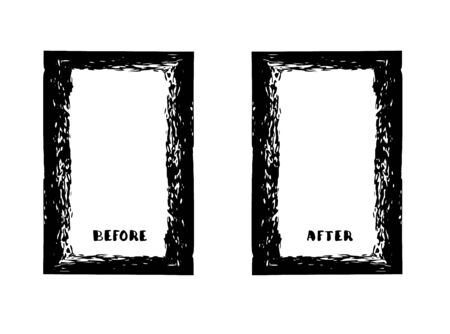 Before and After frames. Comparison banner with copy space. Vector illustartion. Çizim