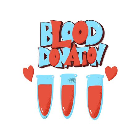 Blood donation emblem. Vector color illustration.