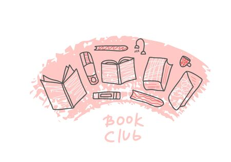 Book set in doodle style. Book club concept. Symbols of reading on white background. Vector illustration.