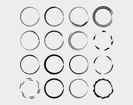 Set of circle frames. Borders collections. Collages elements on white background. Vector illustration.