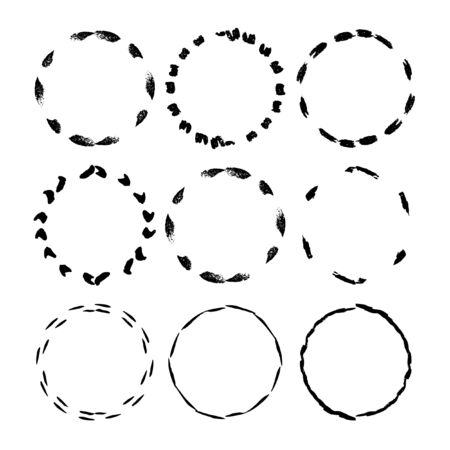 Set of grunge black frames. Borders collections. Vector illustration.