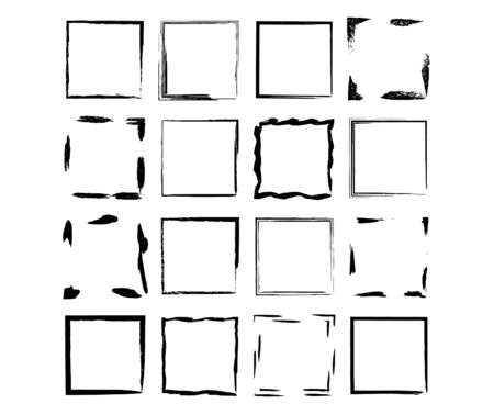 Set of grunge black frames. Borders collections. Collages elements on white background.