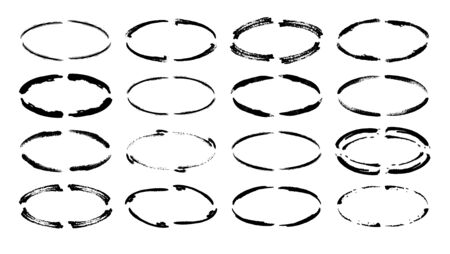 Set of oval grunge black frames. Borders collections. Collages elements on white background. 일러스트