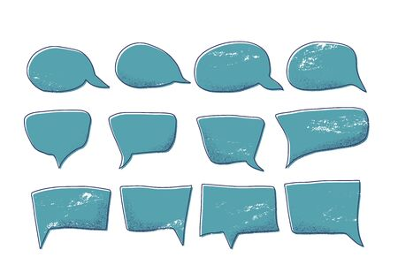Speech bubbles set isolated on white background. Collection of  chat elements. Vector illustartion.
