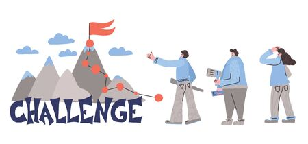 Challenge concept. Mountains with people in doodle style. Vector illustration.