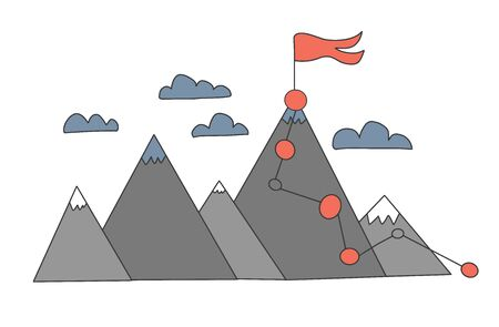 Mountains in doodle style. Vector illustration.