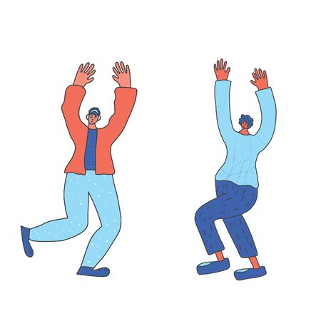 Two friends dancing together. Cute persons having fun at the corporate party. Vector color illustartion.