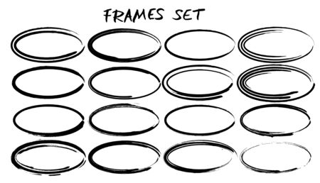 Set of ellipse shapes frames. Collection of black oval borders. Bundle of elements for collage. Vector illustration.