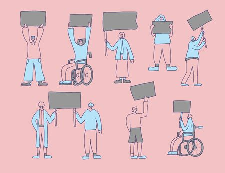 Protesting people standing together with sign boards. Young persons holding clear placards. Human characters take part of rally, parade. Vector illustration.