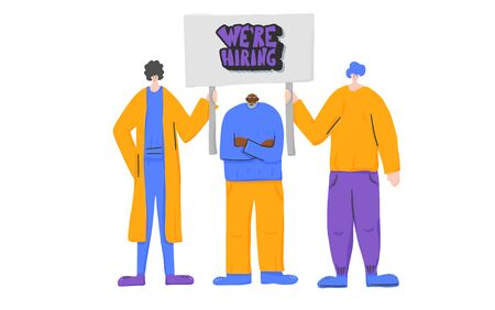 We are hirring banner. People standing together with sign boards. Young and old persons holding placards. Human characters of company team. Vector illustration.