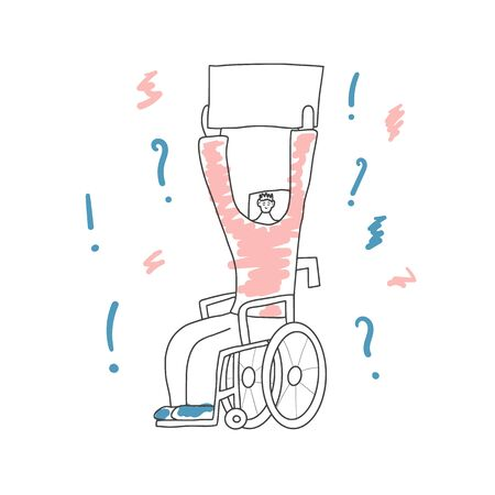 Protesting character sitting in a wheelchair with sign boards. Person holding clear placards. Human character take part of rally, parade. Vector illustration in doodle style.